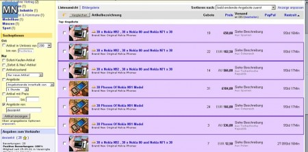 Die Angebote bei eBay von dem Betrüger