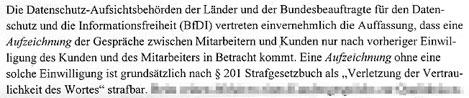 Faksimlie aus der Stellungnahme des Büros des Bundesbeauftragten für den Datenschutz und die Informationsfreiheit in Bonn
