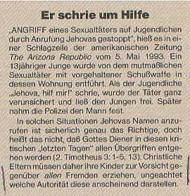 Erwachet! vom 8.10.1993