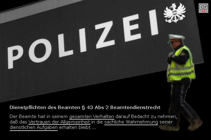 Der Polizist hat dem Ansehen der Exekutive keinen guten Dienst erwiesen | Graphik: DerGloeckel.eu