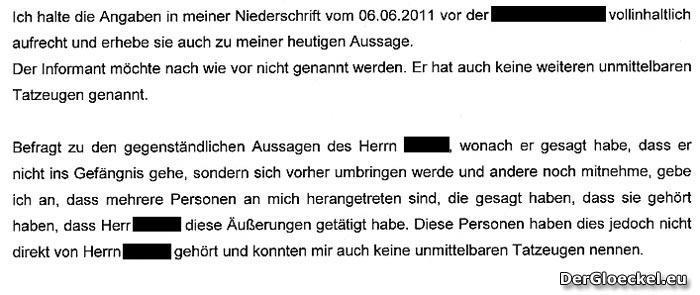 Faksimile aus der Zeugeneinvernahme des Herausgebers bei der Staatsanwaltschaft Korneuburg vom 13.7.2011