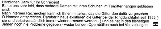 Faksimile der Stellungnahme der Staatsoper Wien