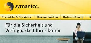 Faksimile der Einstiegsseite von symantec.de